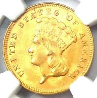 1878 THREE DOLLAR INDIAN GOLD COIN $3   NGC UNCIRCULATED DETAIL  UNC MS