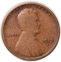 1912 S SAN FRANCISCO  MINT COPPER LINCOLN WHEAT CENT SEMI KEY DATE
