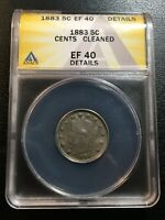 1883 V NICKEL ANACS EXTRA FINE -40 DETAILS - LIBERTY NICKEL WITH CENTS - CERTIFIED SLAB