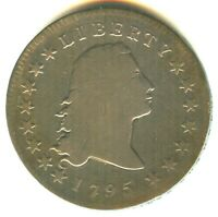 1795 FLOWING HAIR DOLLAR VG IN GRADE 2 LEAVES VARIETY  EARLY TYPE COIN