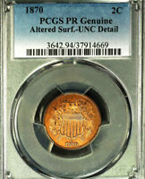 1870 2C PCGS PR GENUINE-ALTERED SURF-UNC DETAIL-TWO CENTS