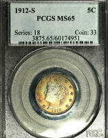 1912-S 5C MINT STATE 65 PCGS-ONLY 112 IN HIGHER GRADE-LIBERTY NICKEL