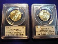 2007 P&D SET PRESIDENT THOMAS JEFFERSON $1 PCGS MINT STATE 65 FIRST DAY ISSUE A & B MIX