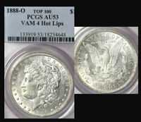 1888-O $1 DOUBLED DIE OBVERSE AU53 PCGS--ONLY 110 IN HIGHER-VAM 4 HOT LIPS-M