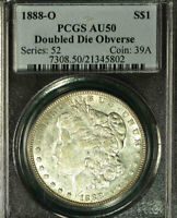 1888-O $1 DOUBLED DIE OBVERSE AU50 PCGS--ONLY 169 IN HIGHER-VAM 4 HOT LIPS-M