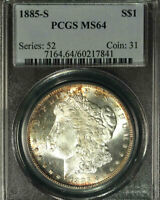1885-S $1 MINT STATE 64 PCGS- RIM TONING-ONLY 910 IN HIGHER-MORGAN DOLLAR