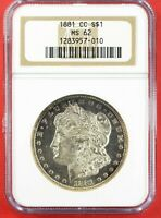 1881 CC MORGAN SILVER $1 DOLLAR NGC MINT STATE 62 CARSON CITY UNDERGRADED DMPL