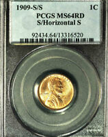 1909-S/S 1C S/HORIZONTAL S MINT STATE 64RD PCGS-LINCOLN WHEAT CENT