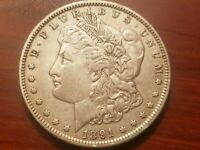 1891 P MORGAN SILVER DOLLAR LIBERTY HEAD $1 ABOUT UNCIRCULATED AU AUNC NICE