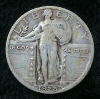 1928 STANDING LIBERTY QUARTER  STRONG, CLEAR DATE  BOOK QUALITY  SILVER  849