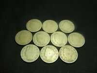 1890, 1891,1892,1893,1894,1895,1896,1897,1898,1899  LIBERTY V NICKEL BARBER TYPE