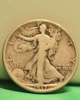 1917 S OBVERSE  WALKING LIBERTY 50C VG US COIN