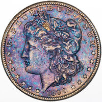 1890-S MORGAN SILVER DOLLAR VIBRANT COLOR TONING GEM GORGEOUS BU UNC MR