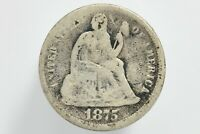 1875 SILVER SEATED LIBERTY DIME TYPE 5 LEGEND OBVERSE