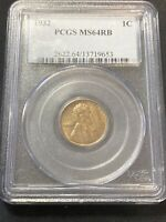 1932 P LINCOLN WHEAT CENT PCGS MINT STATE 64 RB