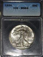 1934 WALKING LIBERTY HALF DOLLAR ICG - MINT STATE 64, BEAUTIFUL SPECIMEN, NO ISSUES