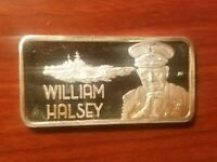 ADMIRAL WILLIAM HALSEY WWII 1 OUNCE SILVER ART BAR 1 OZ .999 FINE HAMILTON MINT