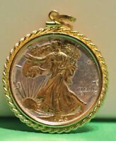 1946 WALKING LIBERTY 50C GOLD ACCENTS ROPE BEZEL STERLING
