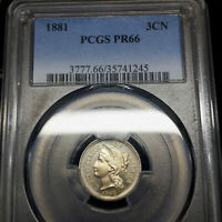 1881 PR66 THREE CENT NICKEL 3CN PCGS GRADED PROOF PF66