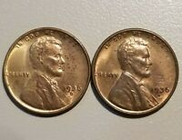 1936-D & 1936-S LINCOLN CENTS, LOT OF 2 BU MOSTLY RED UNCIRCULATED COINS