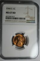 1944 S LINCOLN WHEAT CENT NGC MINT STATE 67 RD 017