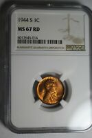 1944 S LINCOLN WHEAT CENT NGC MINT STATE 67 RD 014