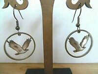 HANDCRAFTED STANDING LIBERTY 1916 -1939 QUARTER EAGLE CUT PIERCED EARRINGS VGC