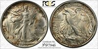 1935 P MINT STATE 66 WALKING LIBERTY HALF DOLLAR 50C, PCGS GRADED, LY TONED