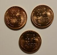 1955-P D S LINCOLN WHEAT SMALL CENT PENNY CHOICE BU 3 COINS SHIPS FREE