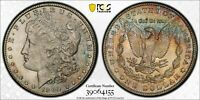 1902-O MINT STATE 63 PCGS MORGAN SILVER DOLLAR - RAINBOW TONED REVERSE - TRUEVIEW