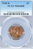 1945 D LINCOLN WHEAT CENT PCGS MINT STATE 64RB - DOUBLEJCOINS 2000-89