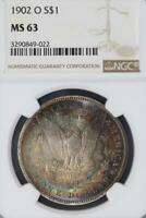 1902 O MORGAN SILVER DOLLAR NGC MINT STATE 63 - DOUBLESIDE TONE - DOUBLEJCOINS 2000-61