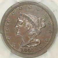 1845 BRAIDED HAIR HALF CENT PCGS PROOF GENUINE, CORROSION REMOVED