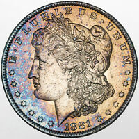 1881-O MORGAN SILVER DOLLAR VIVID BLUE PURPLE COLOR TONED BU UNC STUNNING MR