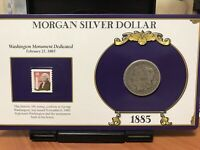1885 MORGAN SILVER DOLLAR AND VINTAGE STAMP COLLECTION CARD
