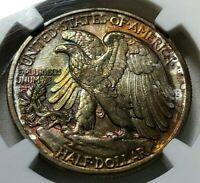 1942 SILVER WALKING LIBERTY HALF DOLLAR 50C NGC MINT STATE 66  MONSTER TONED A GEM