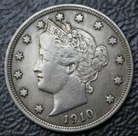 1910 USA FIVE CENT NICKEL - LIBERTY HEAD - FULL LIBERTY -  DETAILS