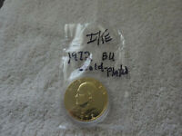 1972 IKE DOLLAR-BRILLIANTLY UNCIRCULATED AND GOLD PLATED   FREE SHIP INCLUDED