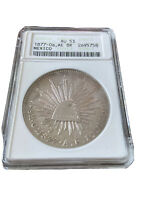 MEXICO: 1877-OA AE SILVER 8 REALES ANACS GRADED. UNDER GRADED IN MY OPINION.