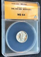 1935 MERCURY DIME DOUBLED DIE OBVERSE  WDDO-001 ANACS MINT STATE 64