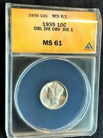 1935 MERCURY DIME DOUBLED DIE OBVERSE  DDO-1 ANACS MINT STATE 61