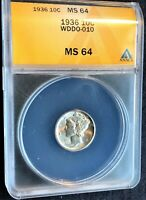 1936 MERCURY DIME DOUBLED DIE OBVERSE  WDDO-010 ANACS MINT STATE 64