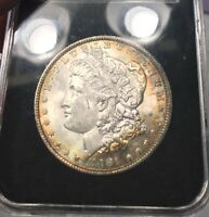 1881-P MORGAN DOLLAR  BU COIN WITH OBVERSE RAINBOW RIM TONING