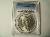 1927 PEACE DOLLAR CERTIFIED BY PCGS MINT STATE 64