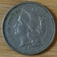 1867 THREE CENT PEICE 3 CENT NICKEL BETTER DATE COIN  DETAILS