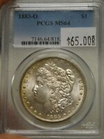 1883-O MORGAN DOLLAR GRADED MINT STATE 64 BY PCGS