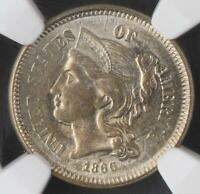 1866 THREE CENT NICKEL NGC UNC DETAILS - UNCIRCULATED DOUBLEJCOINS 3009-95