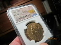 GOLD  OLD 1861 MINTED LIBERTY HEAD DOUBLE EAGLE  NGC   AU 53