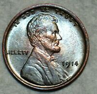 BRILLIANT UNCIRCULATED 1914 P LINCOLN CENT ATTRACTIVELY TONE