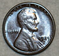 BRILLIANT UNCIRCULATED 1924 S LINCOLN CENT BEAUTIFULLY TONED